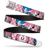 Sonic Classic Amy Face Close Up Full Color Black Amy & Sonic Poses Checker Seatbelt Belt