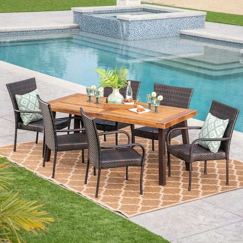 Sutton Outdoor 7-pc. Acacia/Wicker Dining Set by Christopher Knight Home