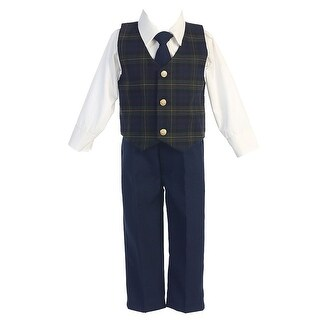Green Plaid Christmas Special Occasion 3pc Suit Tie Set Boys 6M-7