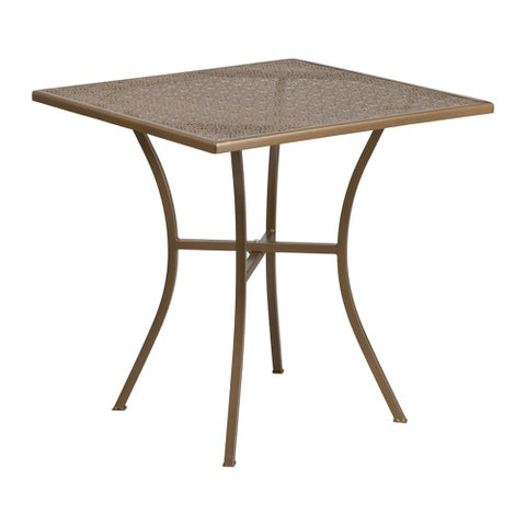 Offex 28'' Square Gold Indoor-Outdoor Steel Patio Table