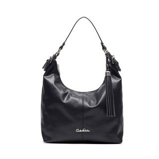 Carlos Falchi Womens Luana Hobo Handbag Faux Leather Adjustable - Black - MEDIUM
