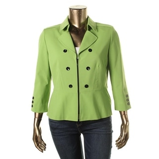 Tahari ASL Womens Double-Breasted Collar Casual Blazer
