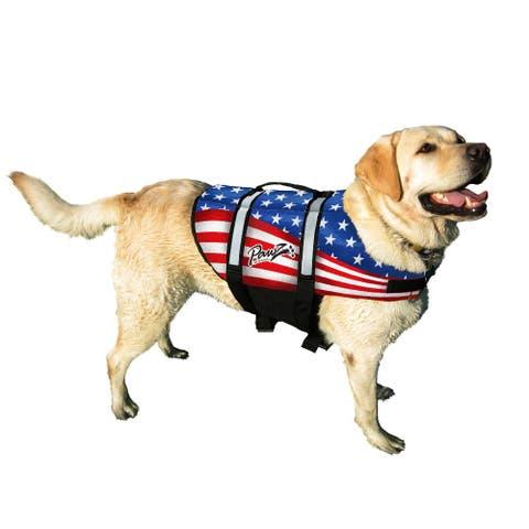 Pawz Pet Products Nylon Dog Life Jacket American Flag - American Flag