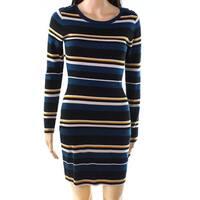 BCX Teal Blue Womens Size XS Button-Detail Striped Sweater Dress