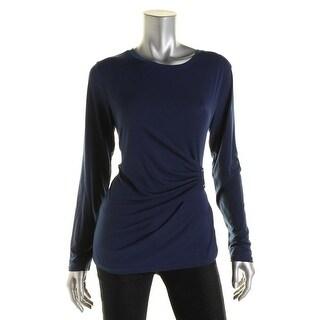 MICHAEL Michael Kors Womens Pleated Embellished Blouse - L
