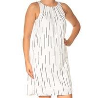 ALFANI Womens White Printed Sleeveless Jewel Neck Above The Knee Shift Dress  Size: 6