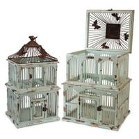 """Set of 2 Blue/Rust Wood & Metal Decorative Accent Bird Cages 22"""" - 28"""" - Blue"""
