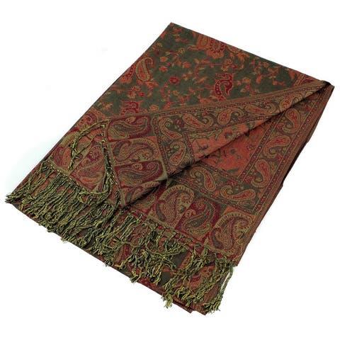 """Reversible Paisley Pashmina Shawl Wrap Elegant Colors - 72"""" x 27"""""""