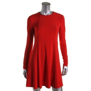 Lauren Ralph Lauren Womens Petites Wear to Work Dress Ruched High Neck