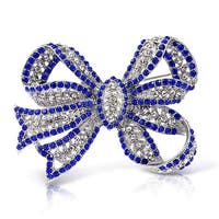Bling Jewelry Imitation Sapphire Crystal Brooch Bow Pin Rhodium Plated