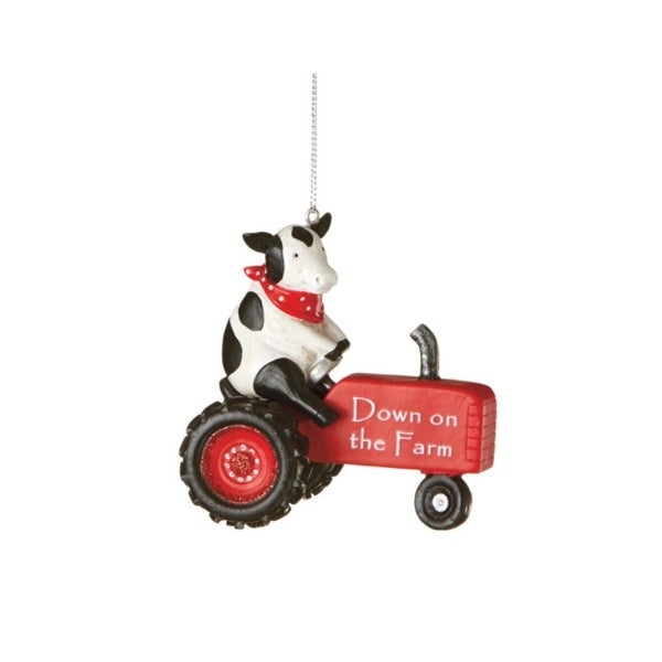 "3.25"" ""Down on the Farm"" Tractor Driving Cow Christmas Ornament"