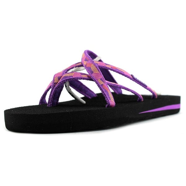 Teva Olowahu Women  Open Toe Canvas Purple Flip Flop Sandal