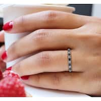 Prism Jewel 1/2Ct Round Black & White Diamond Stackable Band, 2.55mm Wide