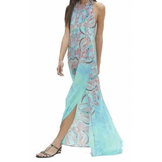 Alexis NEW Blue Women's Size XS Printed Side-Slit Maxi Silk Dress