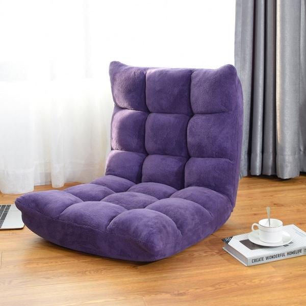 c3b1ab356e43 Costway Adjustable 14-Position Floor Chair Folding Gaming Sofa Chair  Cushioned Purple