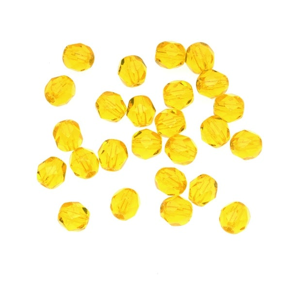 Czech Fire Polished Glass Beads 6mm Round Citrine (25)