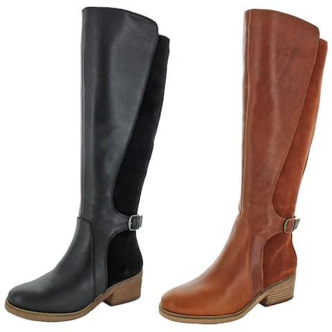 Lucky Brand Women's Timinii Leather Round Toe Stacked Heel Tall Riding Boots