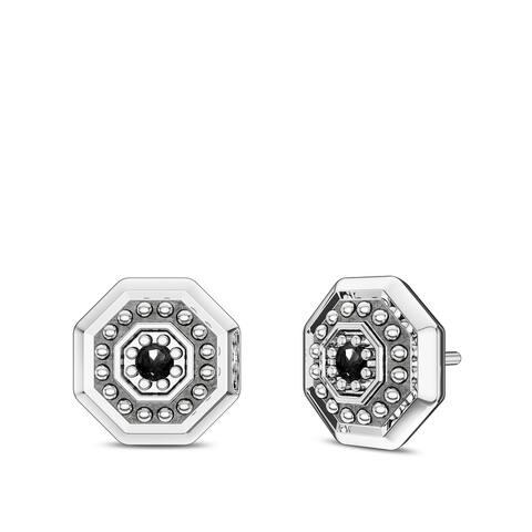 Deluxe UFC Octagon Black Diamond Earrings In Sterling Silver