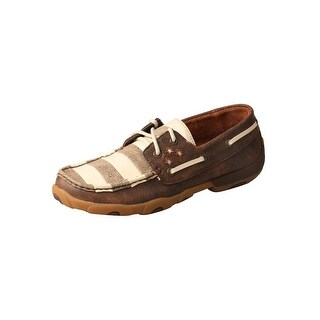 Twisted X Casual Shoes Womens Boat Leather Faded Flag Brown - Brown Ivory