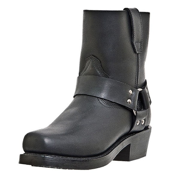 Dingo Motorcycle Boots Mens Rev Up Harness Leather Zip Black