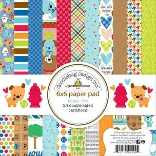 """Doodlebug Double-Sided Paper Pad 6""""X6"""" 24/Pkg-Puppy Love"""
