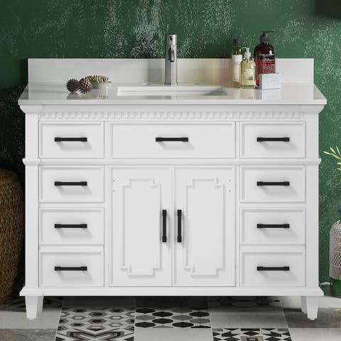 ExBrite 48 Inches White Bathroom Vanities With Solid Wood Lockers,Marble Countertop and White Ceramic Sink