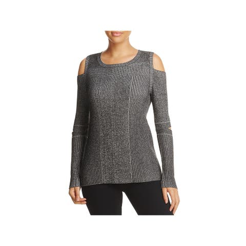 Design History Womens Pullover Sweater Heathered Cold Shoulder - Onyx Combo