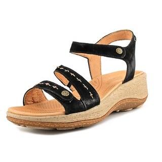Acorn Vista Wedge Ankle Black Sandals