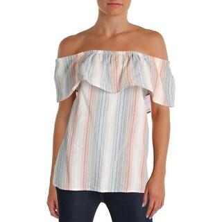 Vintage America Womens Hera Casual Top Striped Ruffled