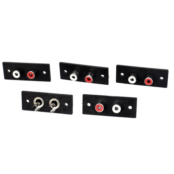 5 Pcs Panel Mounting 2 RCA Female Outlet AV Concentric Socket Connector Adapter