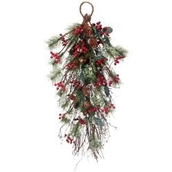 - Frosted Skip Pine W/Berry/Holly Teardrop 30""