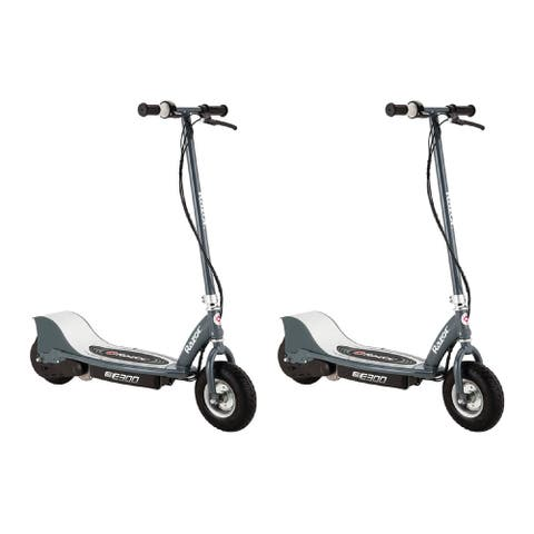 """Razor E300 Electric Scooter (9"""" Air-filled Tires, Matte Gray, 2-Pack)"""
