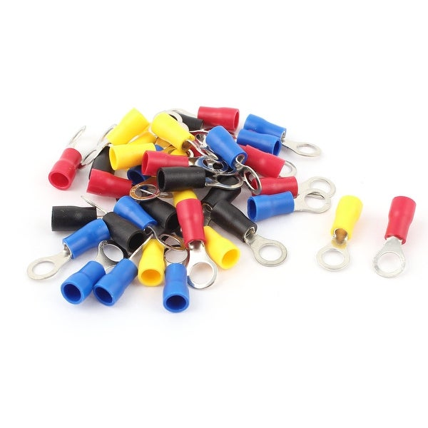 Unique Bargains 40 Pcs 2-5S 16-14AWG Wire Connector Ring Crimp Terminal Assortment Kit