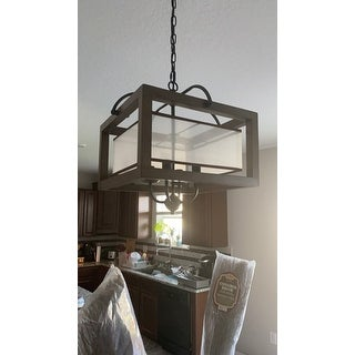 Alina Antique Black Metal Natural Wood Chandelier with Fabric Shade