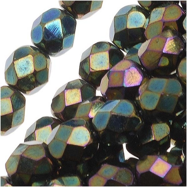 Czech Fire Polished Glass Beads 6mm Round Green Iris (25)