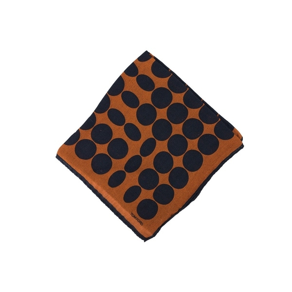 Tom Ford Mens Orange Circle Abstract Silk Pocket Square