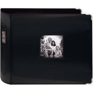 "Pioneer 3-Ring Sewn Leatherette Album 12""X12""-Black - Black"