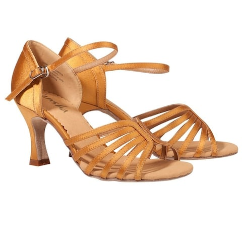 Sansha Adult Gold Satin Upper Heeled Buckle Selia Ballroom Shoes Womens