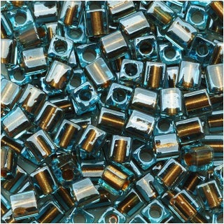 Miyuki 4mm Glass Cube Beads Bronze Lined Blue Crystal 2642 10 Grams