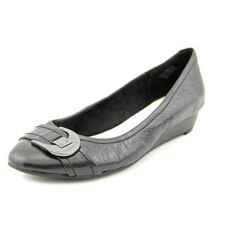 Anne Klein Ruthie Women Open Toe Leather Black Wedge Heel