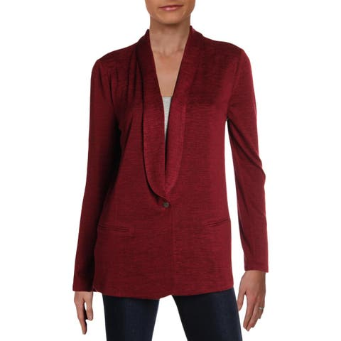 Nic + Zoe Womens Every Occasion Knit Blazer One Button Long Sleeves