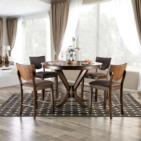 Furniture of America Oskam Brown 5-piece Counter Height Dining Set