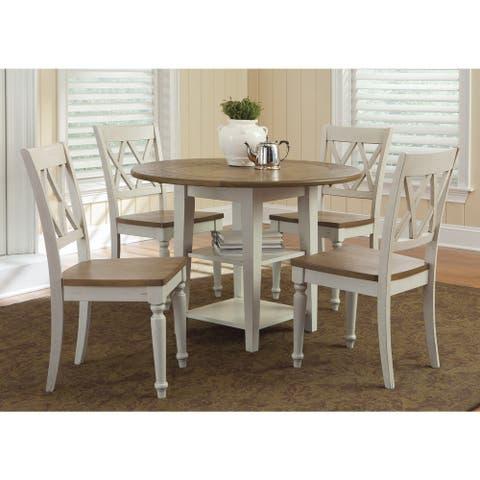 Al Fresco Two-Tone Transitional Drop Leaf Leg Table - Antique White