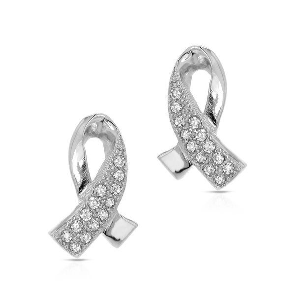 Mcs Jewelry Inc STERLING SILVER 925 LOVE KNOT EARRINGS WITH CUBIC ZIRCONIA