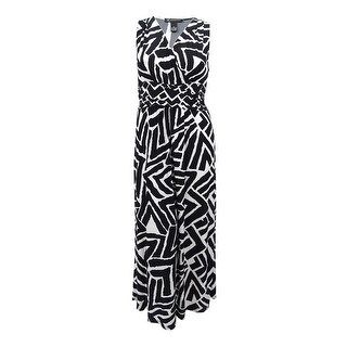 INC International Concepts Women's Ruched Printed Maxi Dress (XL, Zebra Chevron) - zebra chevron - xL