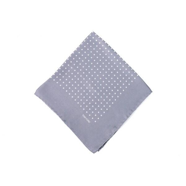 Tom Ford Men's Light Grey Blue Polka Dot Silk Pocket Square