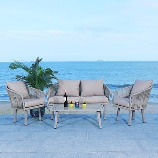 Link to Safavieh Outdoor Jorda 4-Piece Rope Patio Set Similar Items in Patio Furniture