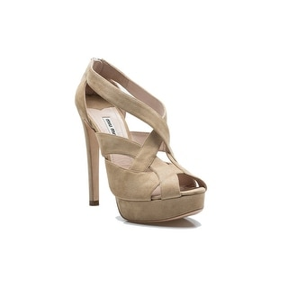 Miu Miu Women's Suede Strapped Back Zipper High Heel Shoes Beige
