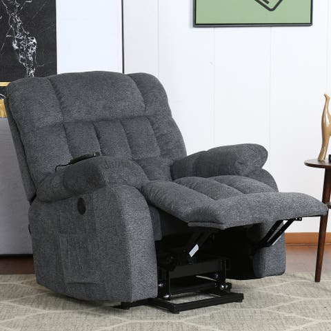 Electric Lift Recliner with Modern Padded Arms and Back, Navy