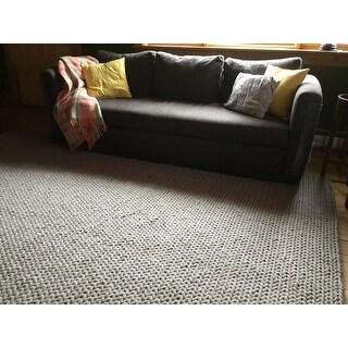 Nuloom Handmade Casual Braided Wool Grey Rug 8 X 10